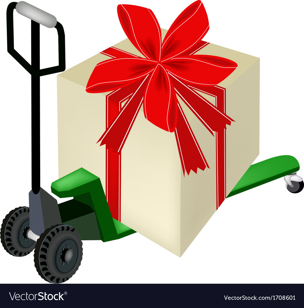 Pallet truck loading a big gift box vector | Price: 1 Credit (USD $1)