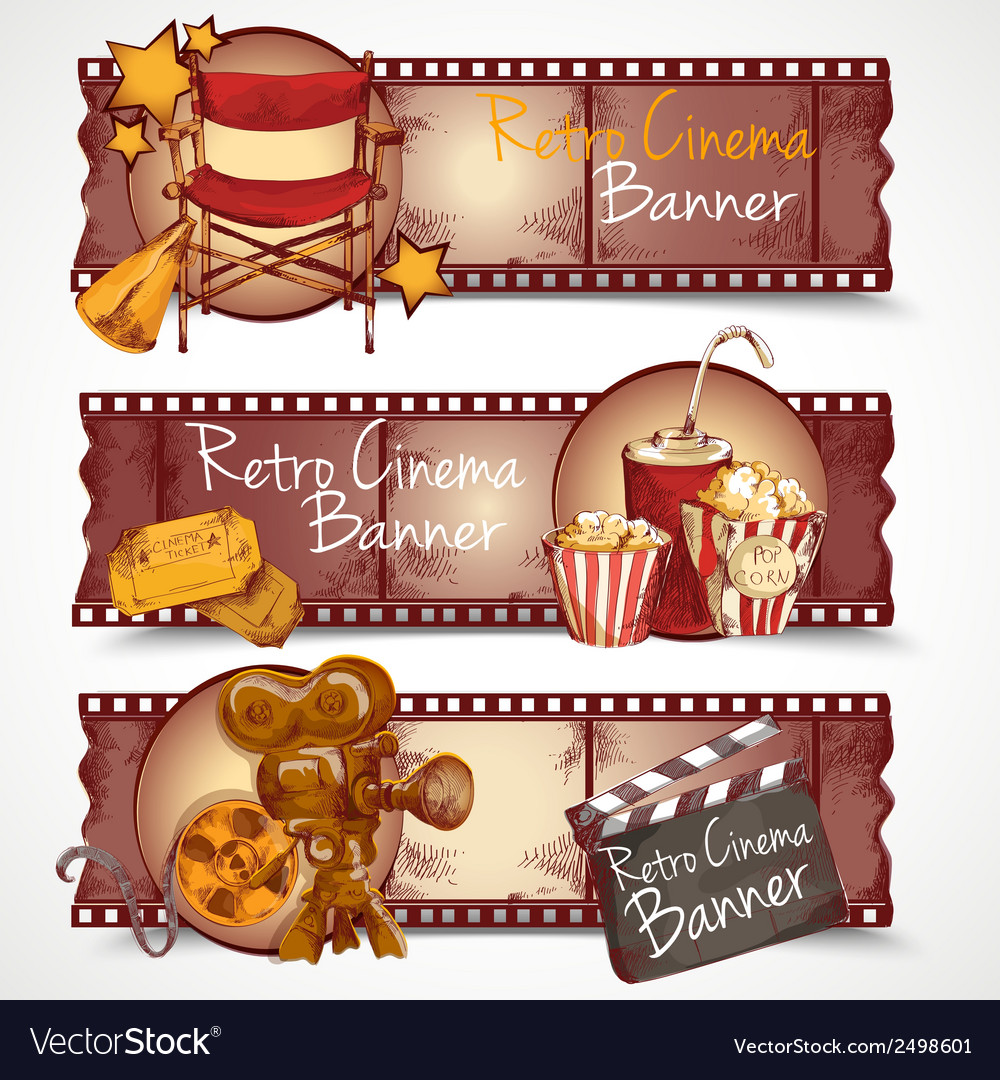 Retro cinema banners vector | Price: 1 Credit (USD $1)