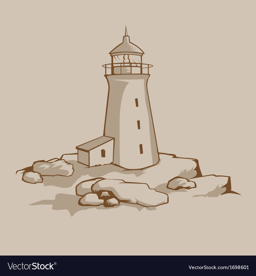 Rock lighthouse vector | Price: 1 Credit (USD $1)