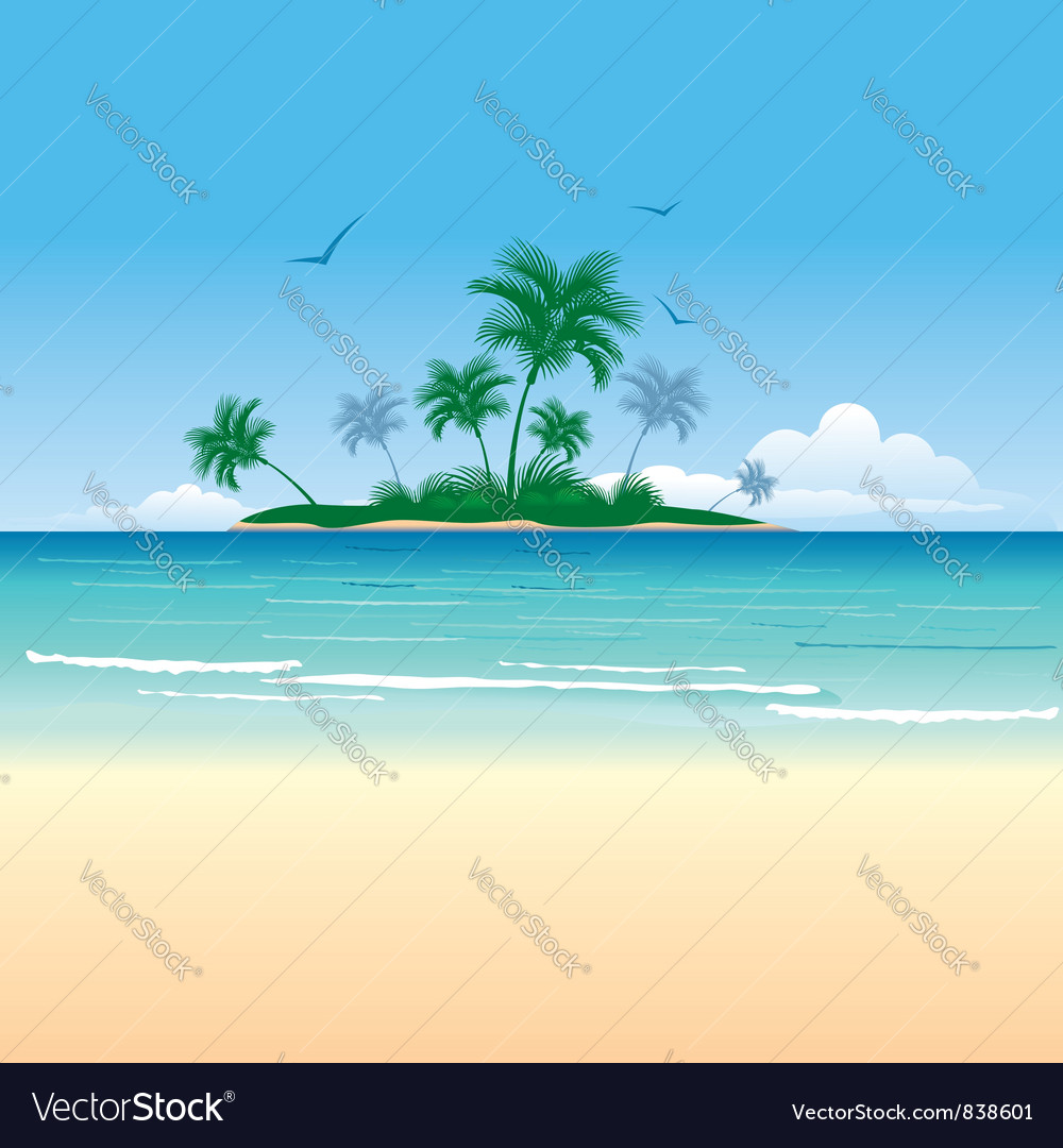 Tropical island vector | Price: 3 Credit (USD $3)