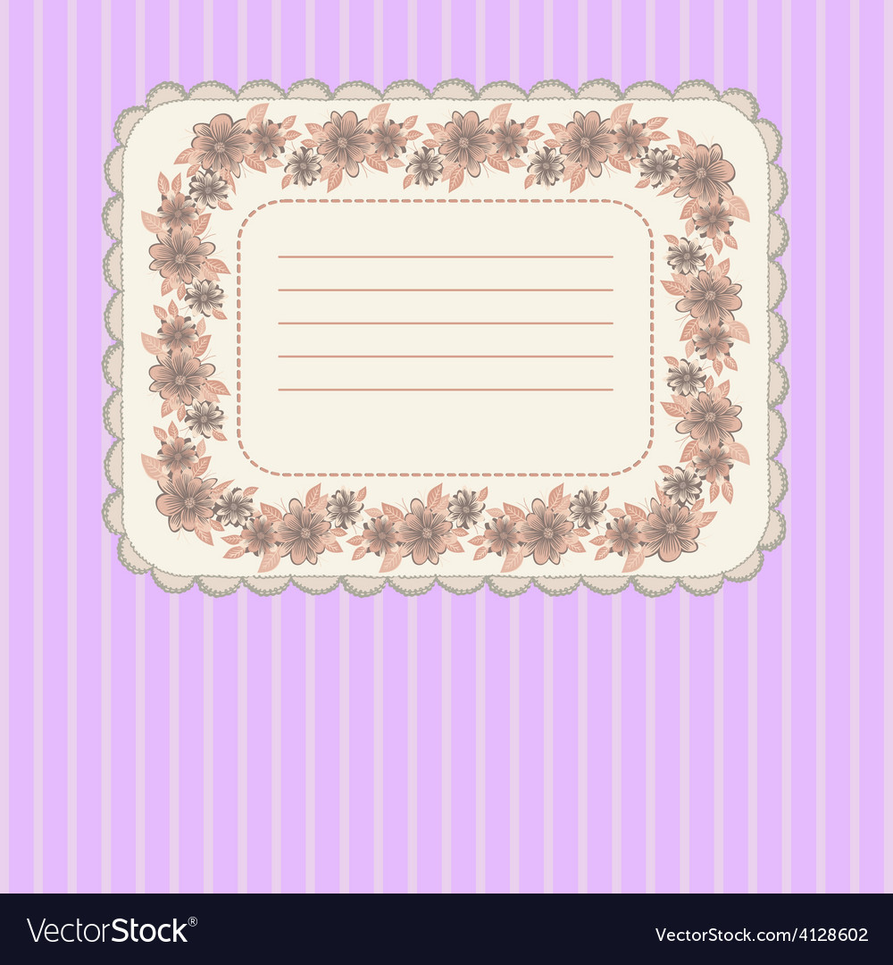 Card with floral frame vector | Price: 1 Credit (USD $1)