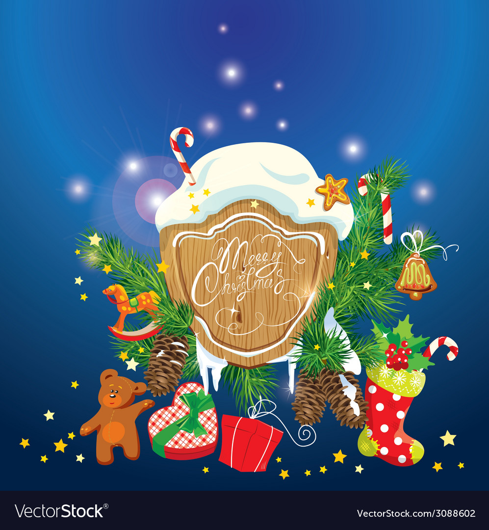 Card with xmas gifts and presents gingerbread cand vector | Price: 1 Credit (USD $1)