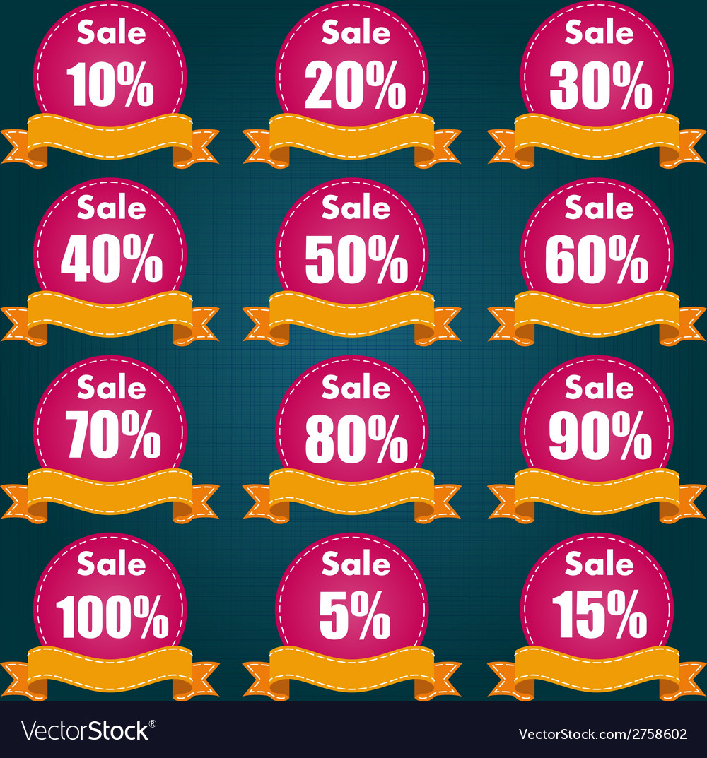 Discount price tag set vector | Price: 1 Credit (USD $1)