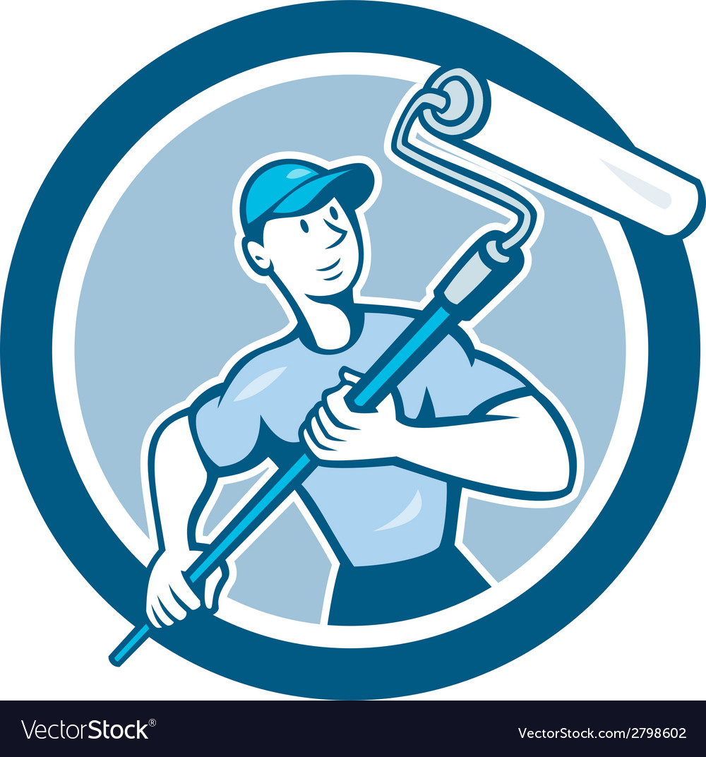 House painter paint roller circle cartoon vector | Price: 1 Credit (USD $1)