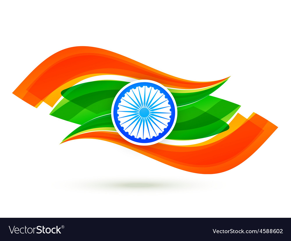 Indian flag design with wave style in tricolor vector | Price: 1 Credit (USD $1)