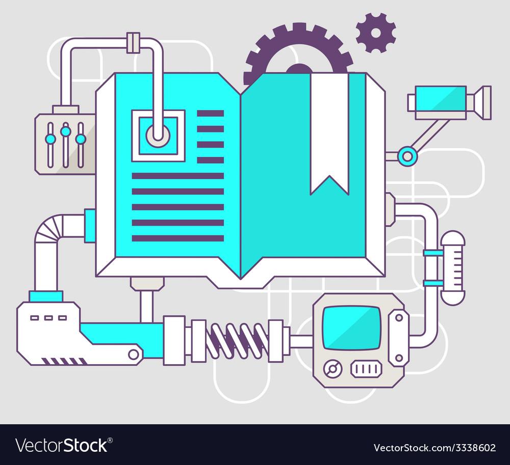 Industrial of the mechanism of open book co vector | Price: 3 Credit (USD $3)