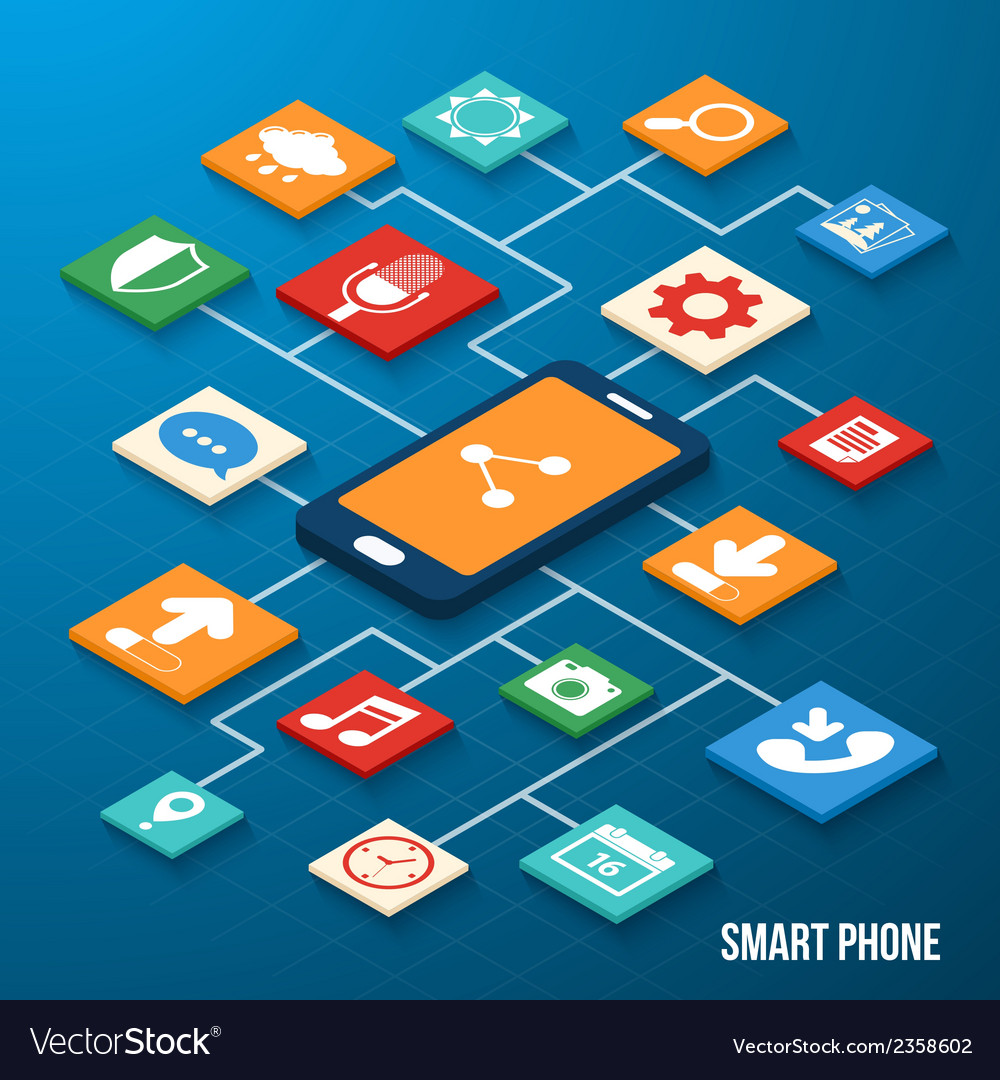 Mobile applications isometric icons vector | Price: 1 Credit (USD $1)