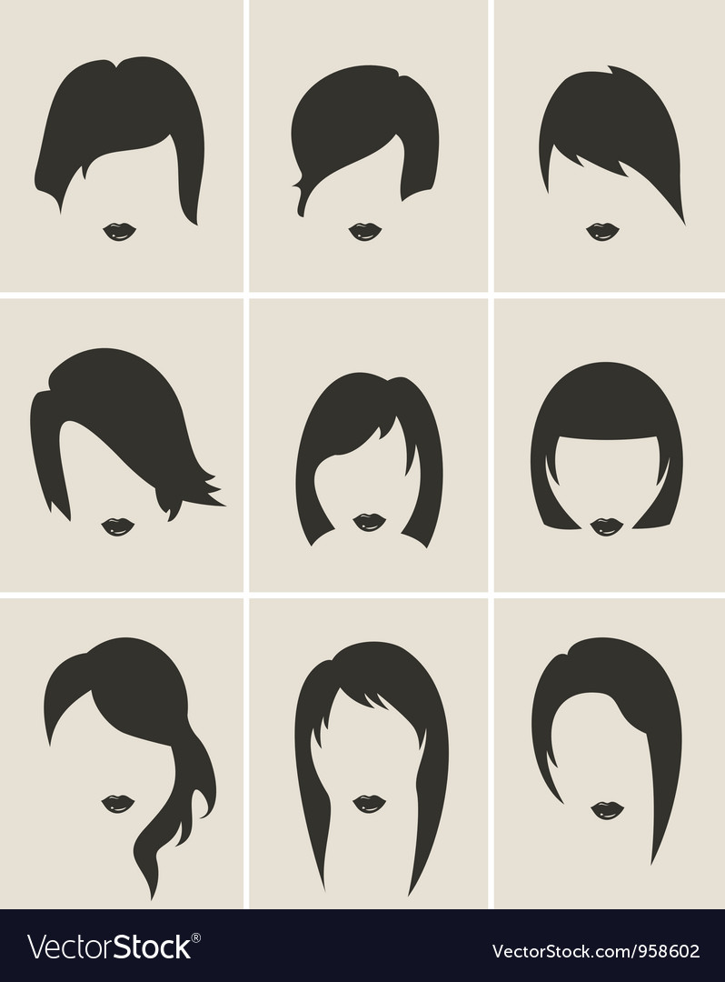Set of woman hair silhouette vector | Price: 1 Credit (USD $1)