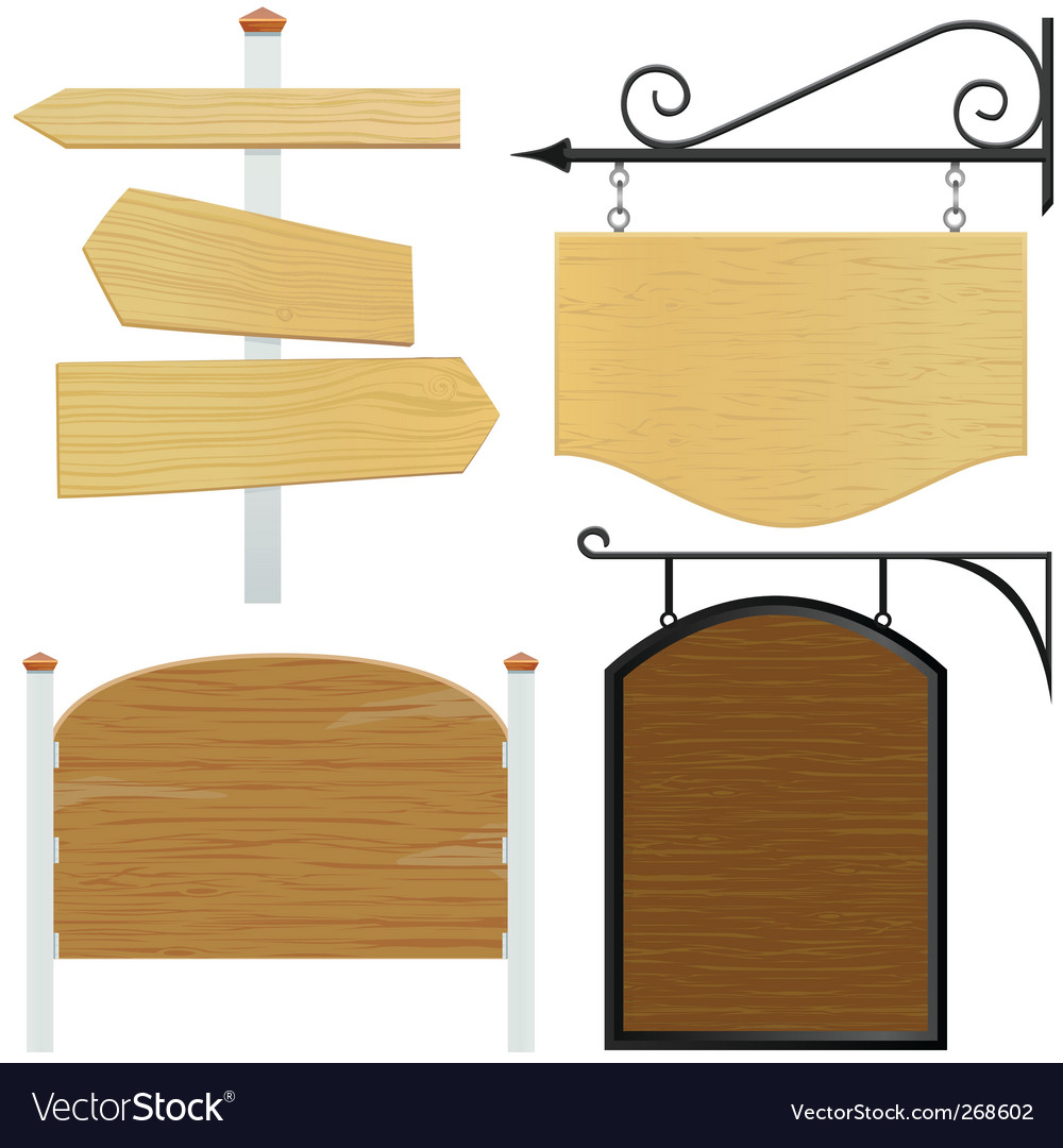 Set of wooden sign vector | Price: 1 Credit (USD $1)