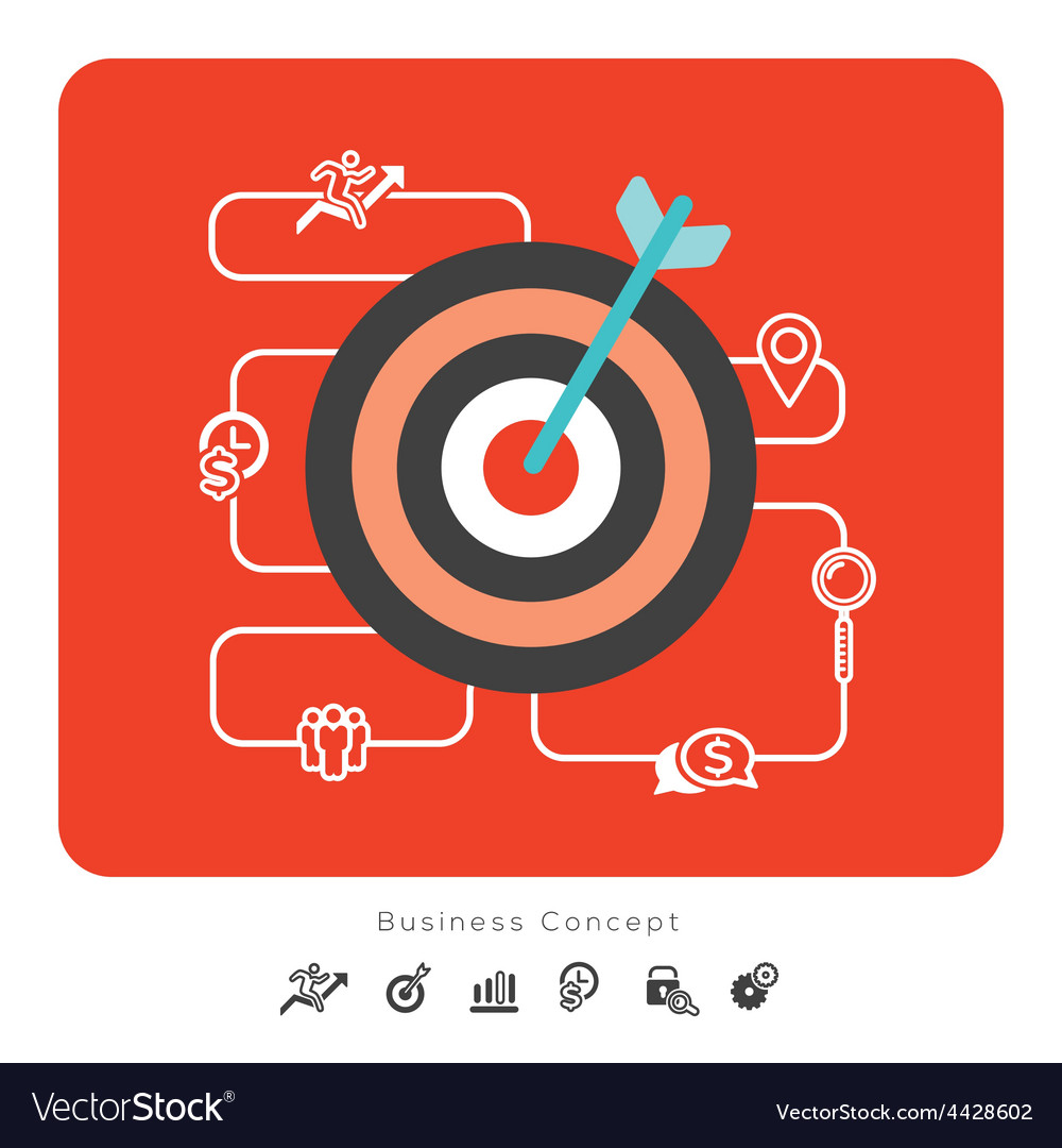 Success business concept icons with target vector | Price: 1 Credit (USD $1)