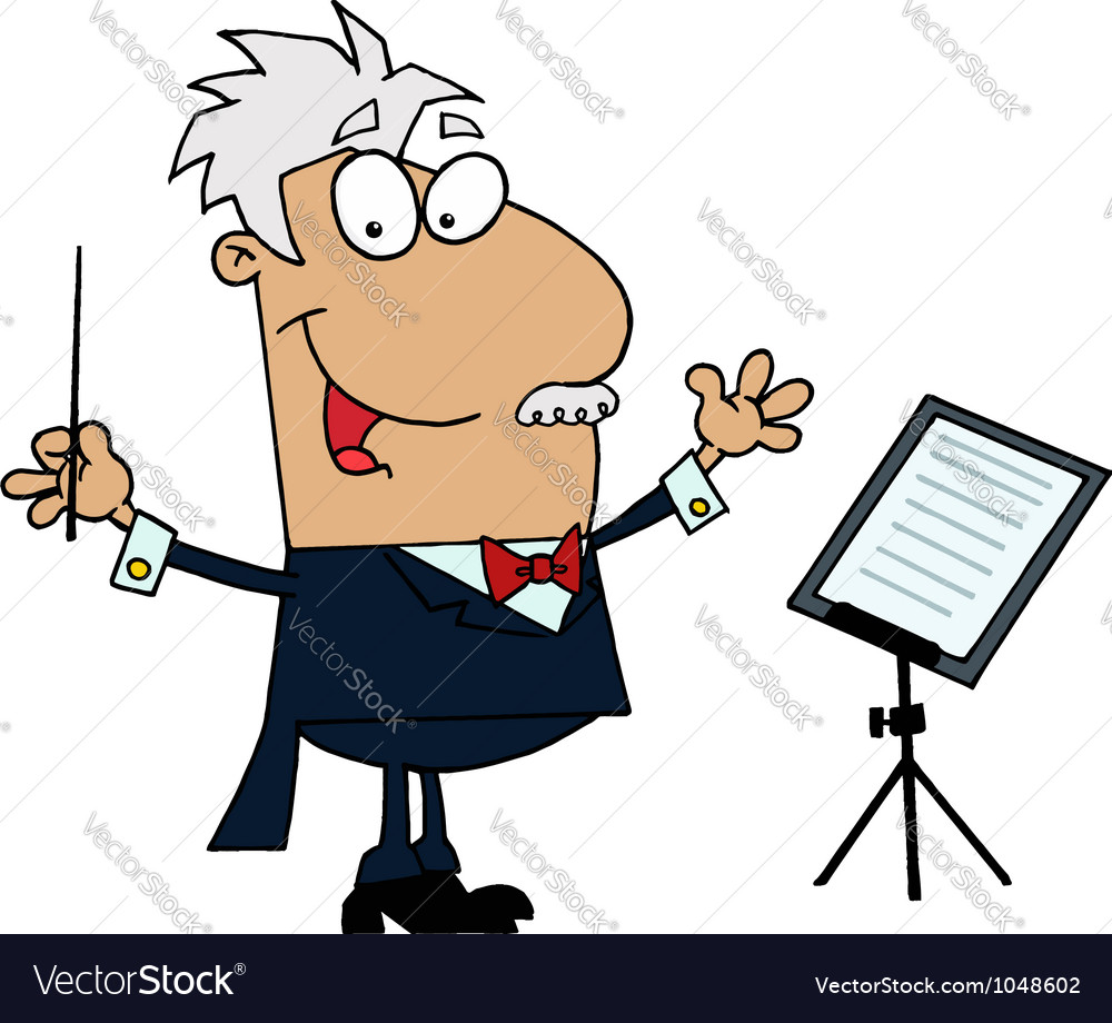 Tan cartoon music conductor man vector | Price: 1 Credit (USD $1)