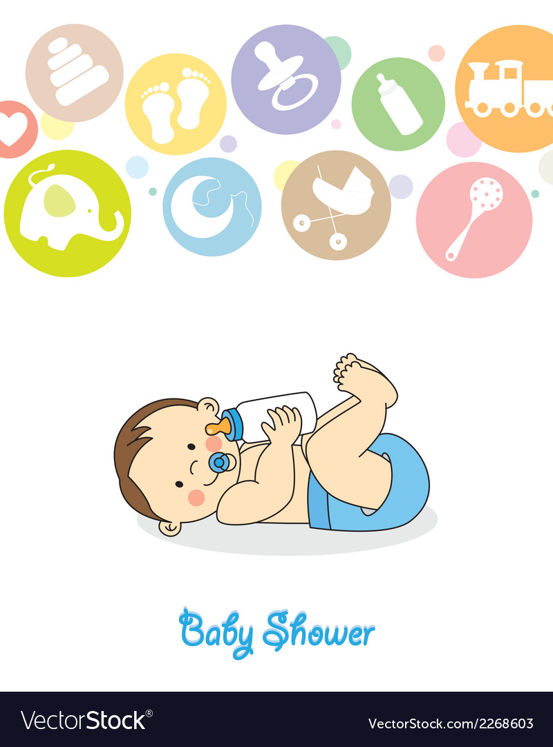 Baby boy with baby bottle vector | Price: 1 Credit (USD $1)