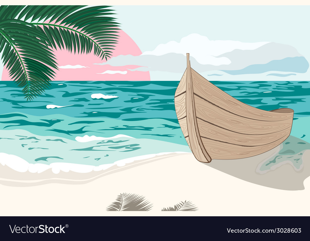 The boat is on the sea shore at summer vector | Price: 1 Credit (USD $1)