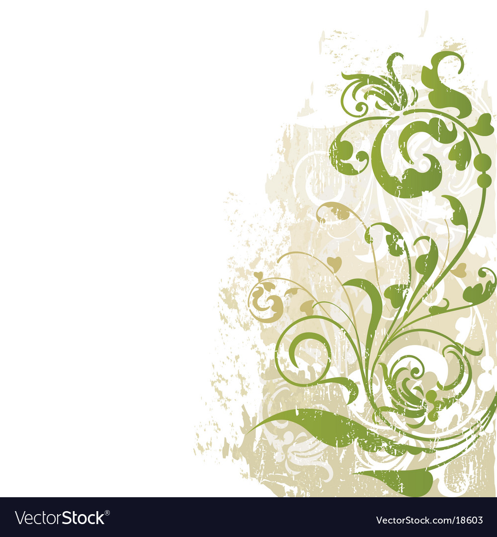 Floral edge design grunge vector | Price: 1 Credit (USD $1)