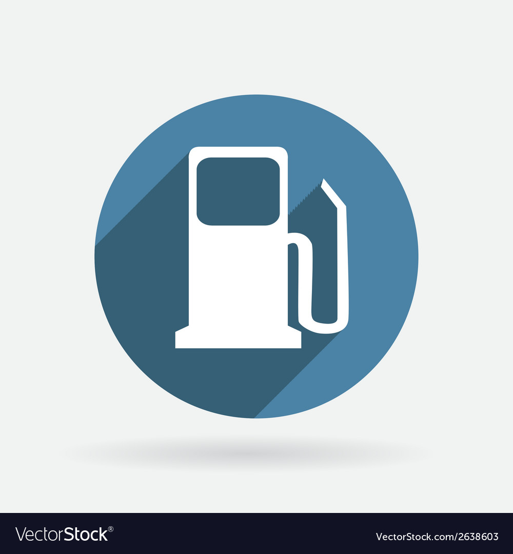 Gas station circle blue icon with shadow vector | Price: 1 Credit (USD $1)