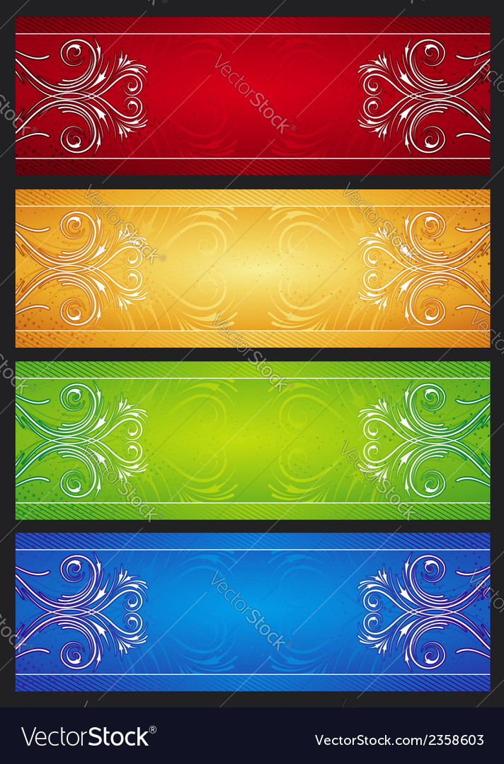 Modern banners with floral ornament illus vector | Price: 1 Credit (USD $1)