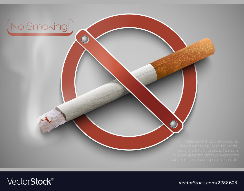 No smoking sign with a realistic cigarette vector | Price: 1 Credit (USD $1)