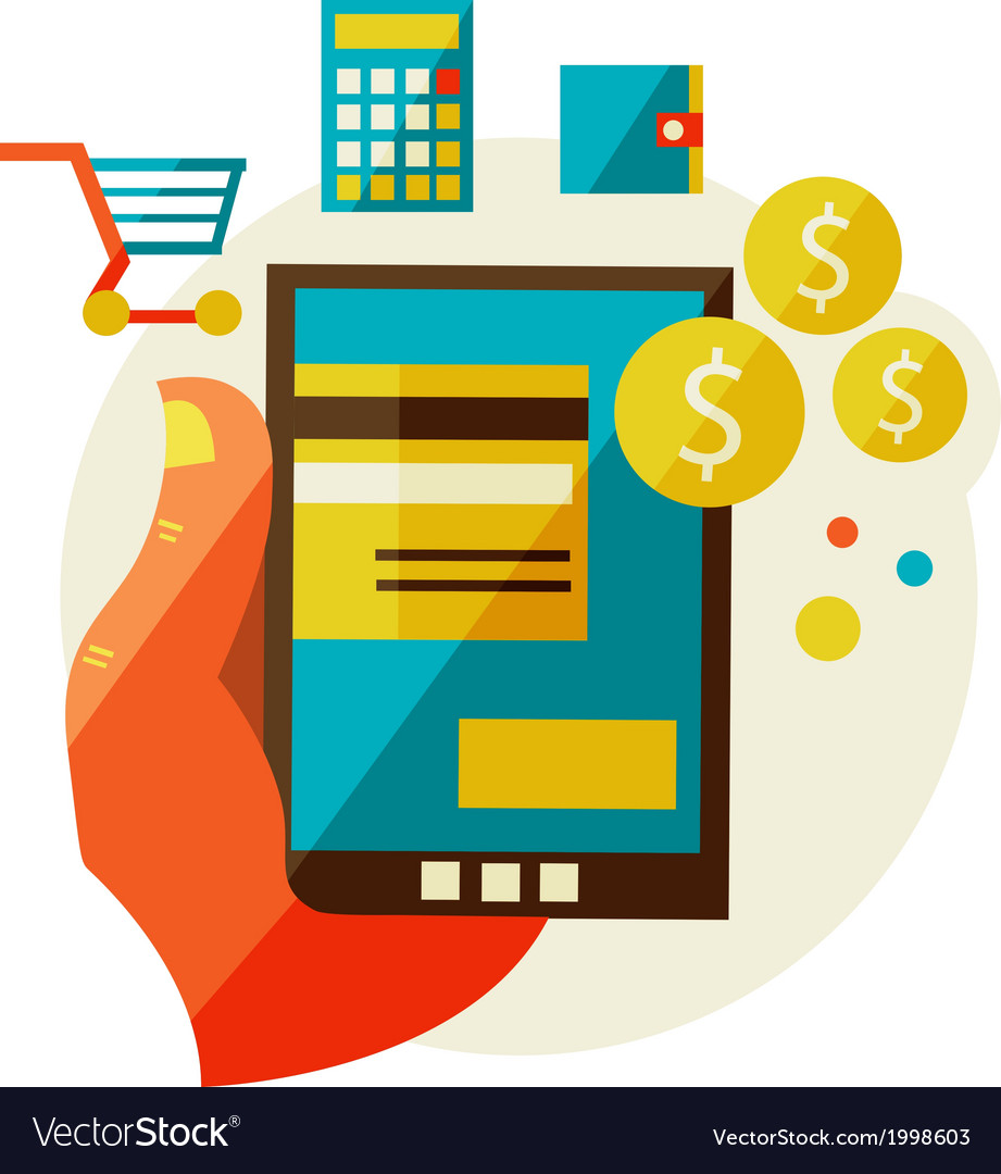 Processing of mobile payments vector   Price: 1 Credit (USD $1)
