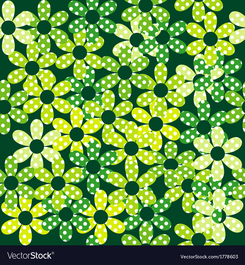 Seamless pattern with green dotted flowers vector | Price: 1 Credit (USD $1)