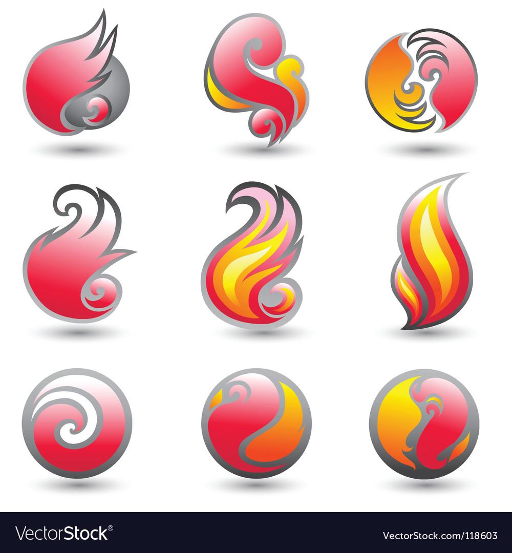Set of fire corporate symbols vector | Price: 1 Credit (USD $1)