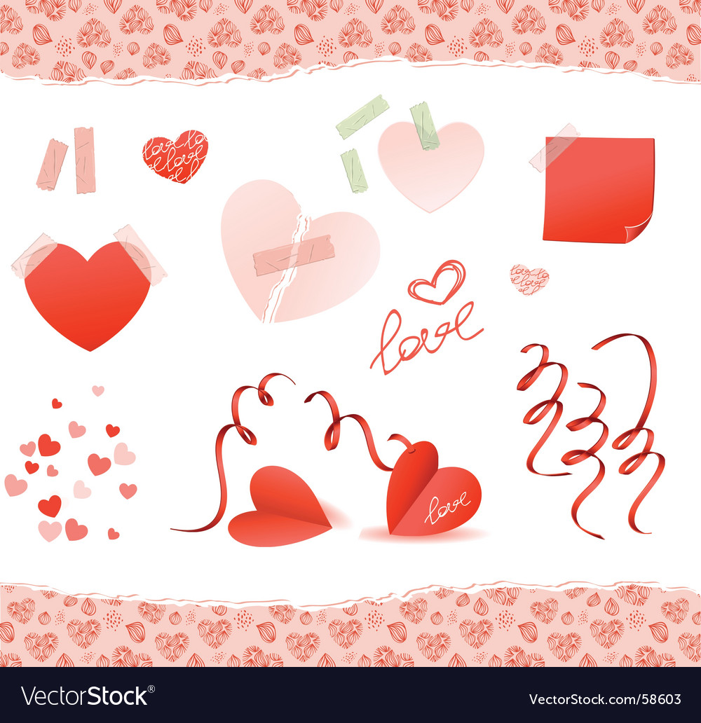 Valentine elements red vector