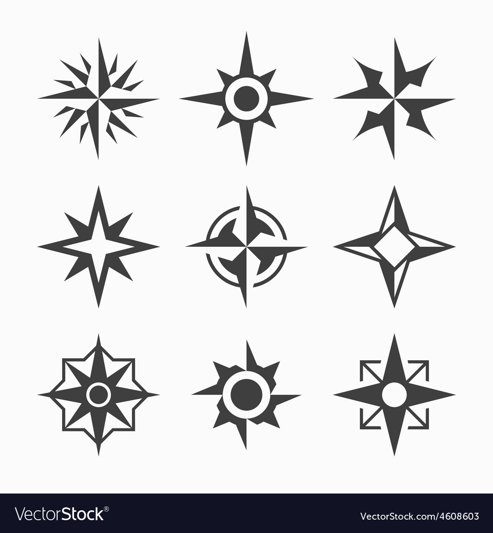 Wind rose icons vector | Price: 1 Credit (USD $1)