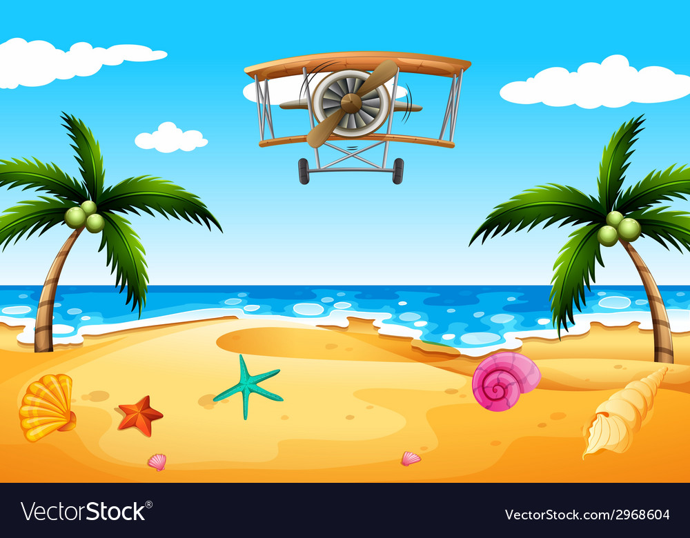 A vintage plane at the beach vector | Price: 1 Credit (USD $1)