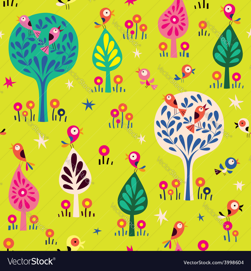 Birds in the trees nature forest pattern vector | Price: 1 Credit (USD $1)
