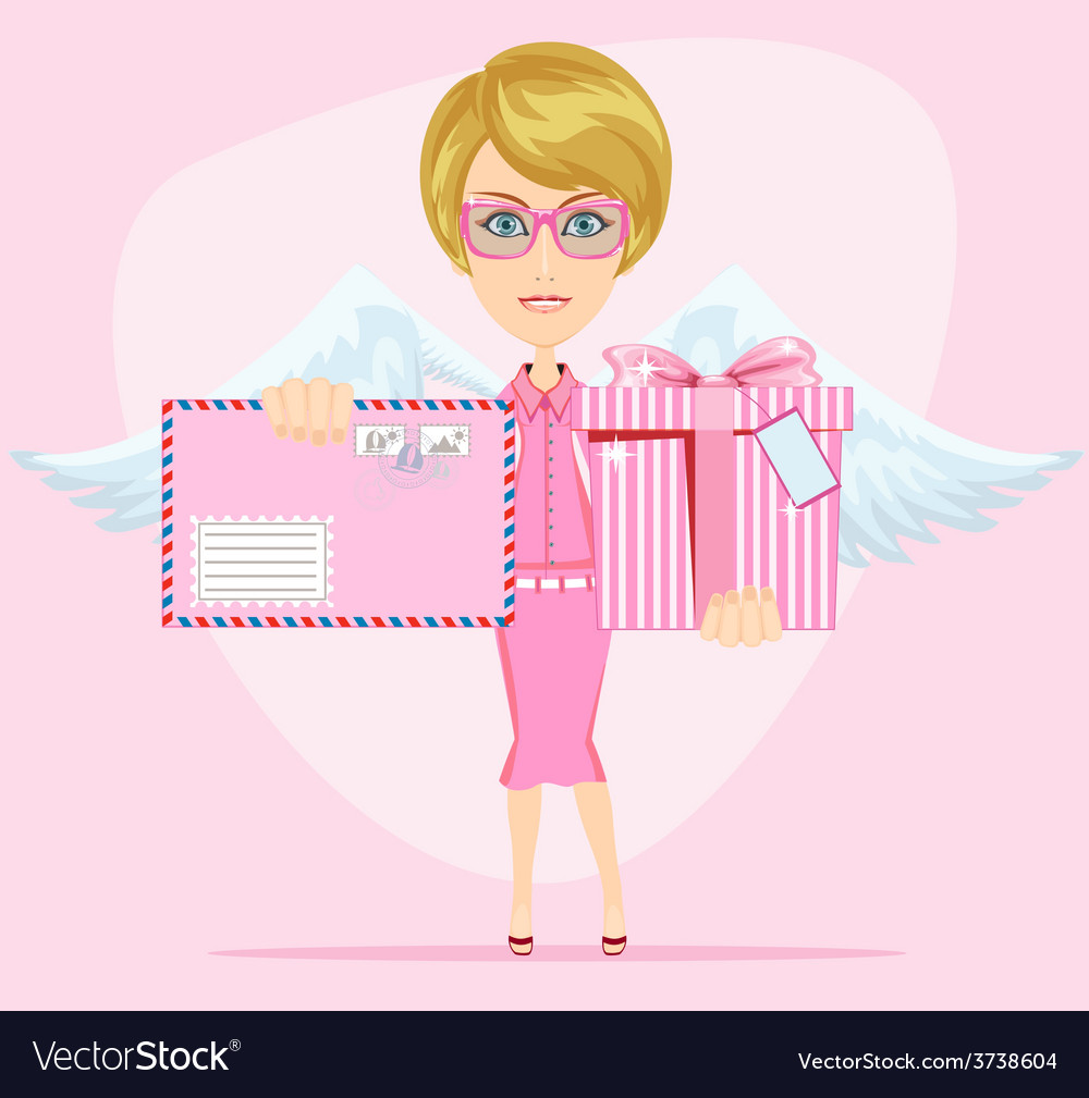 The girl-angel congratulates gives invitation vector | Price: 1 Credit (USD $1)