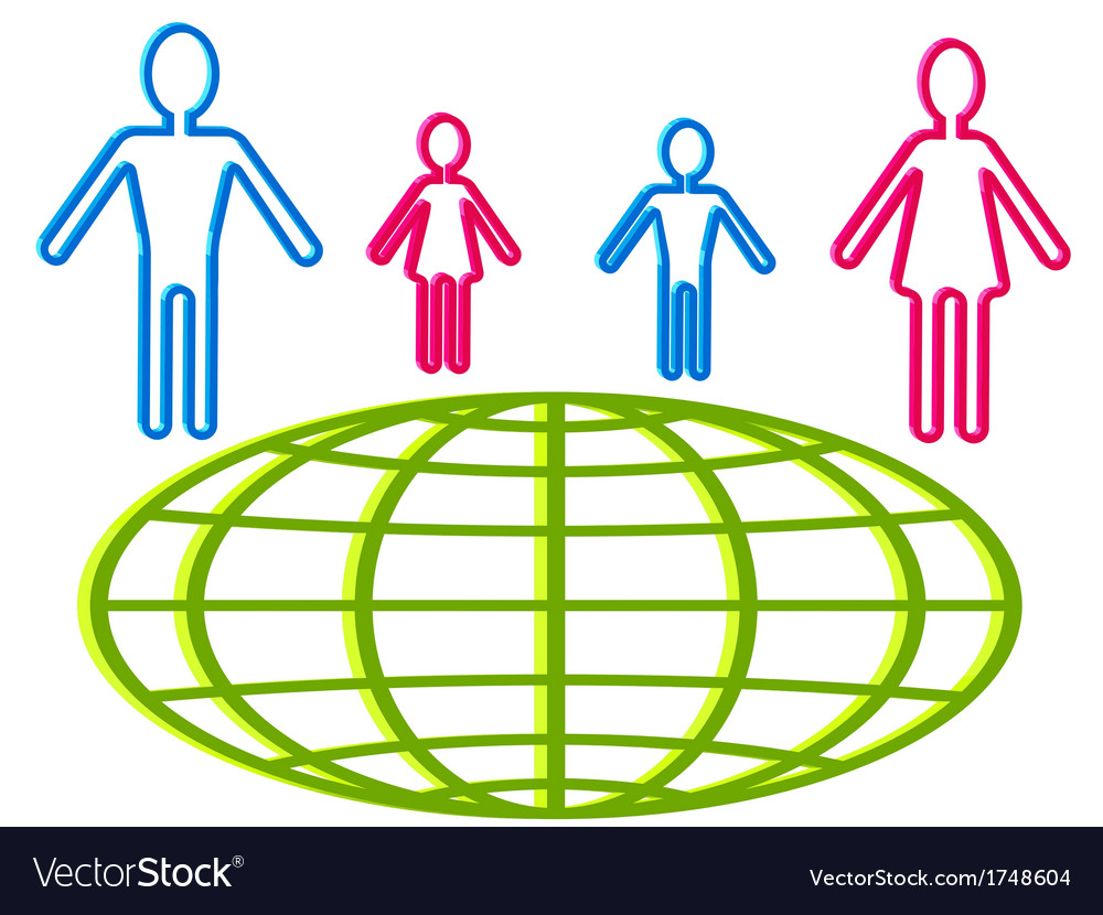 Globe and people vector | Price: 1 Credit (USD $1)