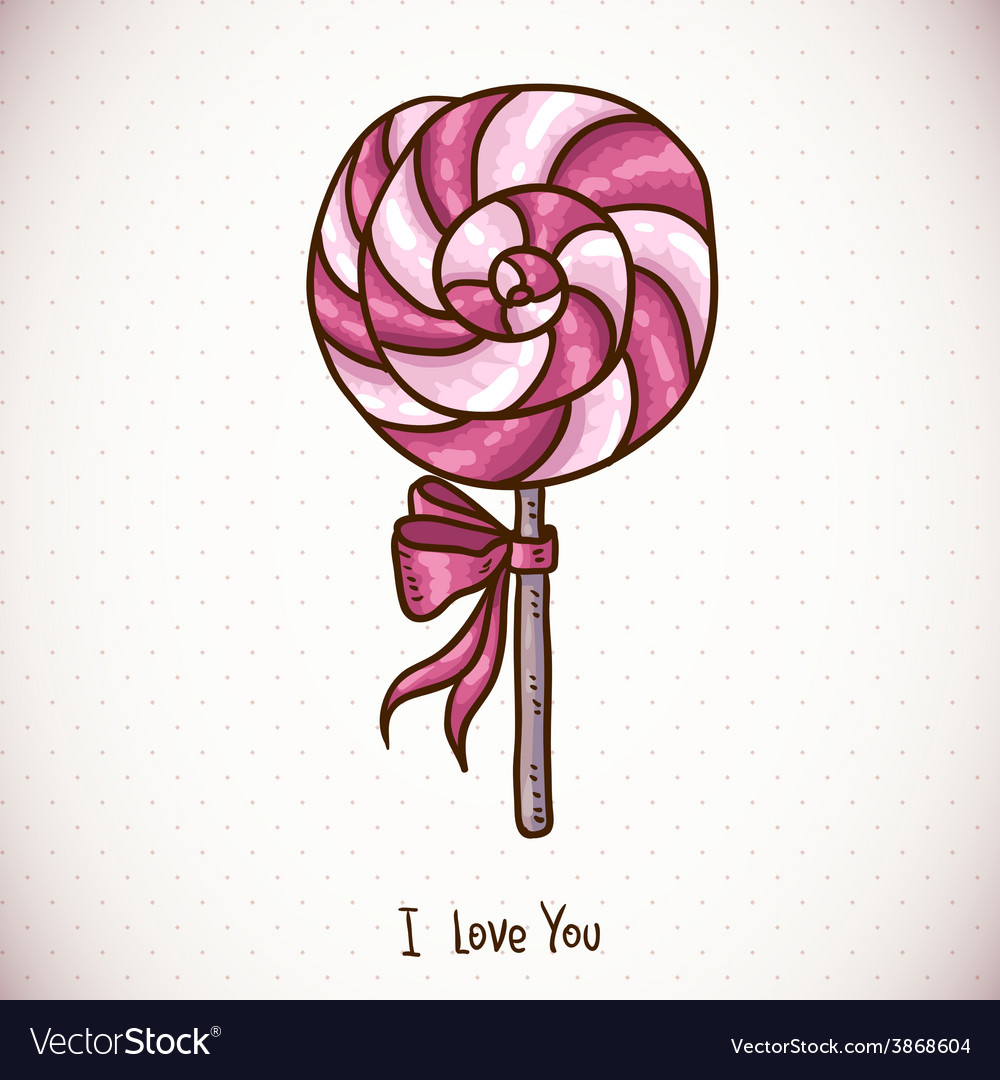 Greeting card with candy lollipop vector | Price: 1 Credit (USD $1)
