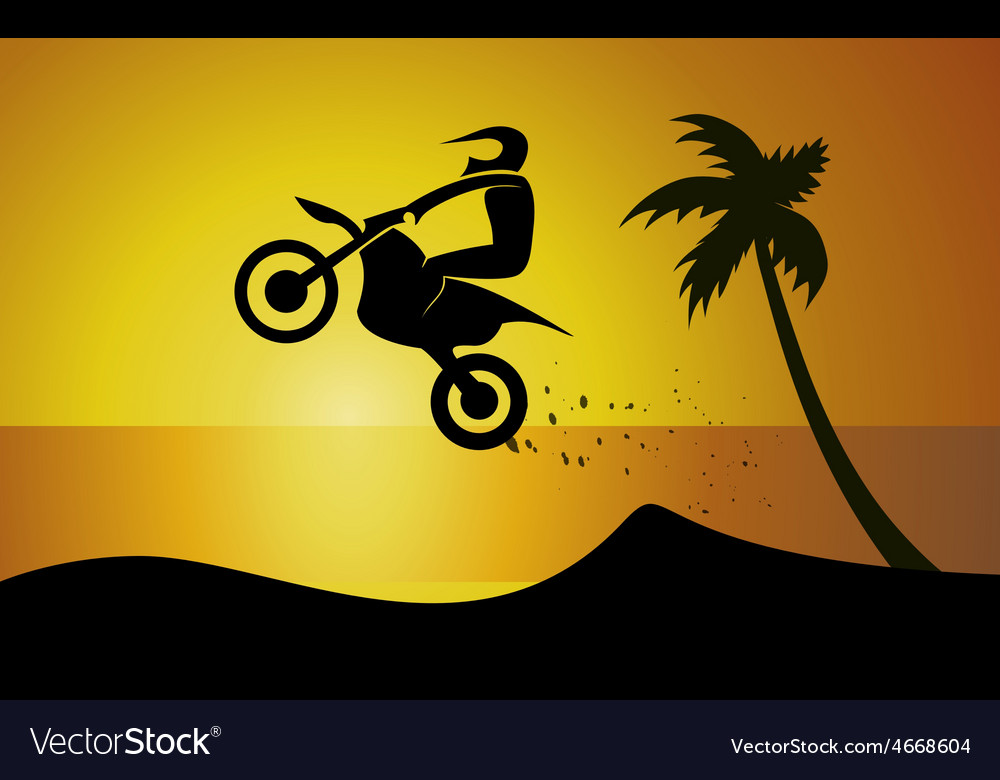 Motorcycle on seaside vector | Price: 1 Credit (USD $1)
