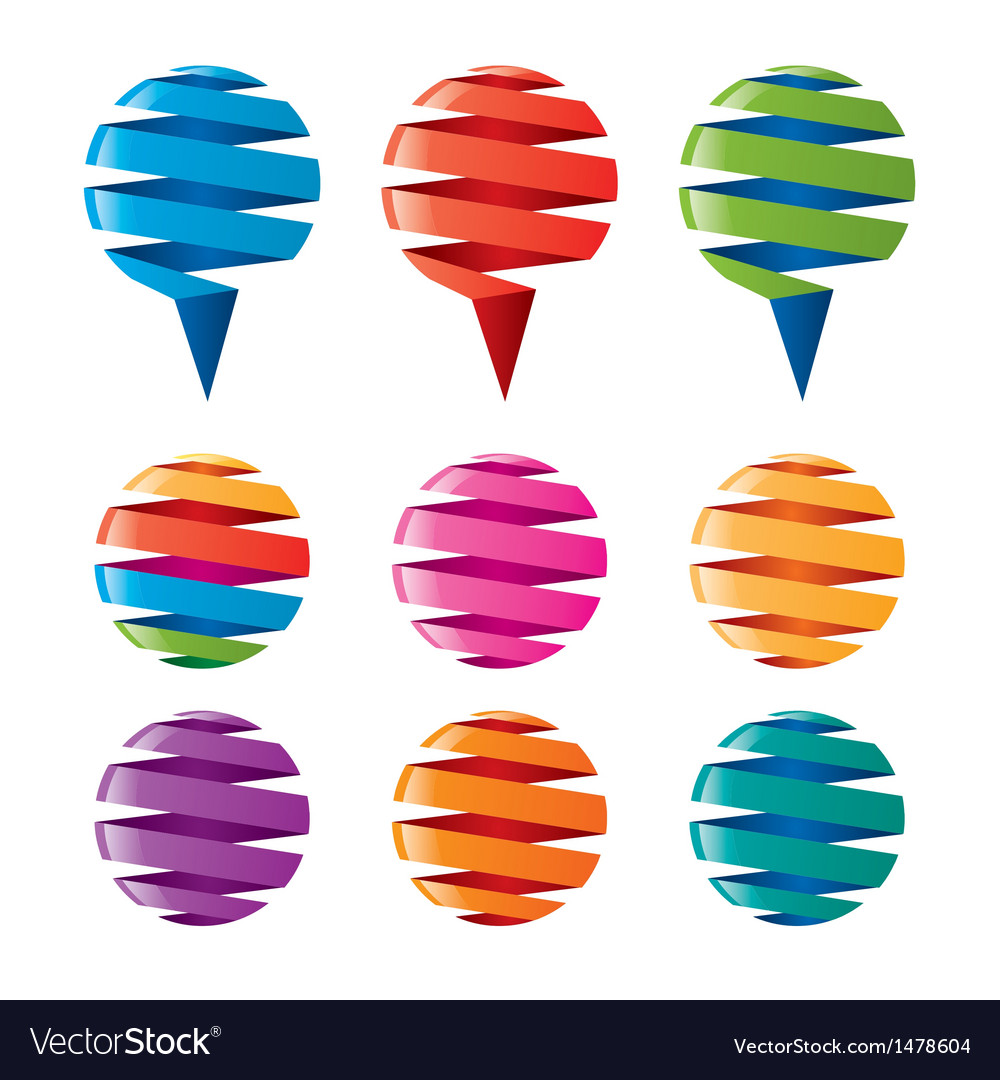 Multicolored balloons twisted ribbons vector | Price: 1 Credit (USD $1)