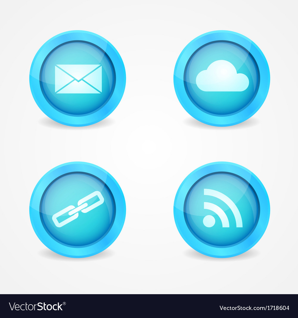 Set of glossy internet icons vector | Price: 1 Credit (USD $1)