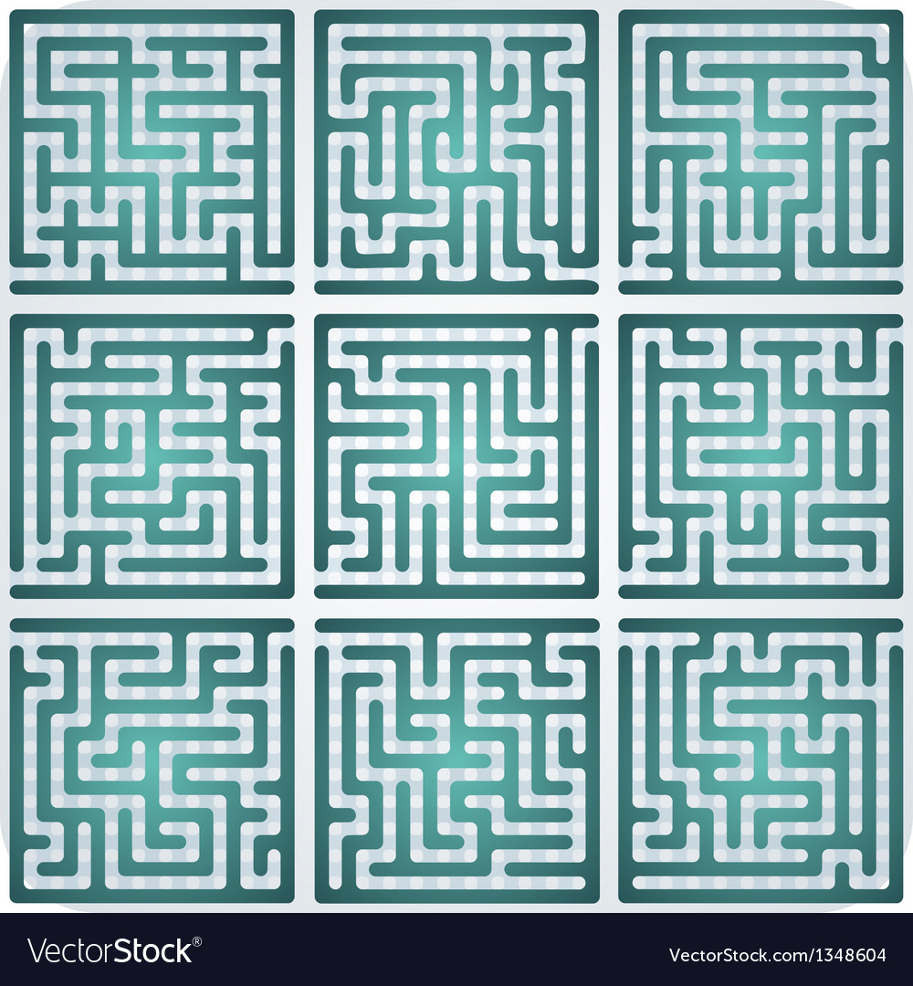 Set of maze for kids vector | Price: 1 Credit (USD $1)