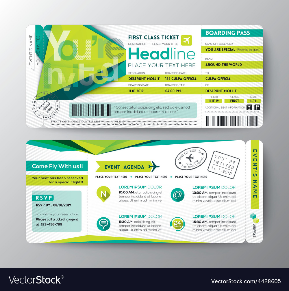 Abstract polygon boarding pass event ticket card vector | Price: 1 Credit (USD $1)