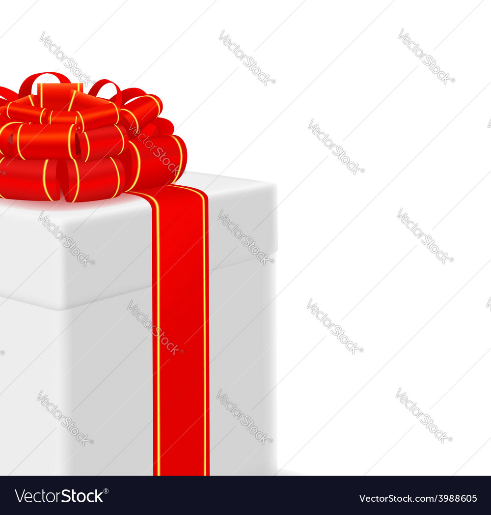 Box with red ribbon on white background vector | Price: 1 Credit (USD $1)