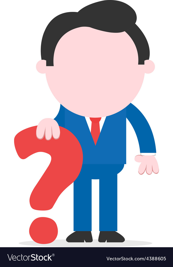Businessman leaning question mark vector | Price: 1 Credit (USD $1)