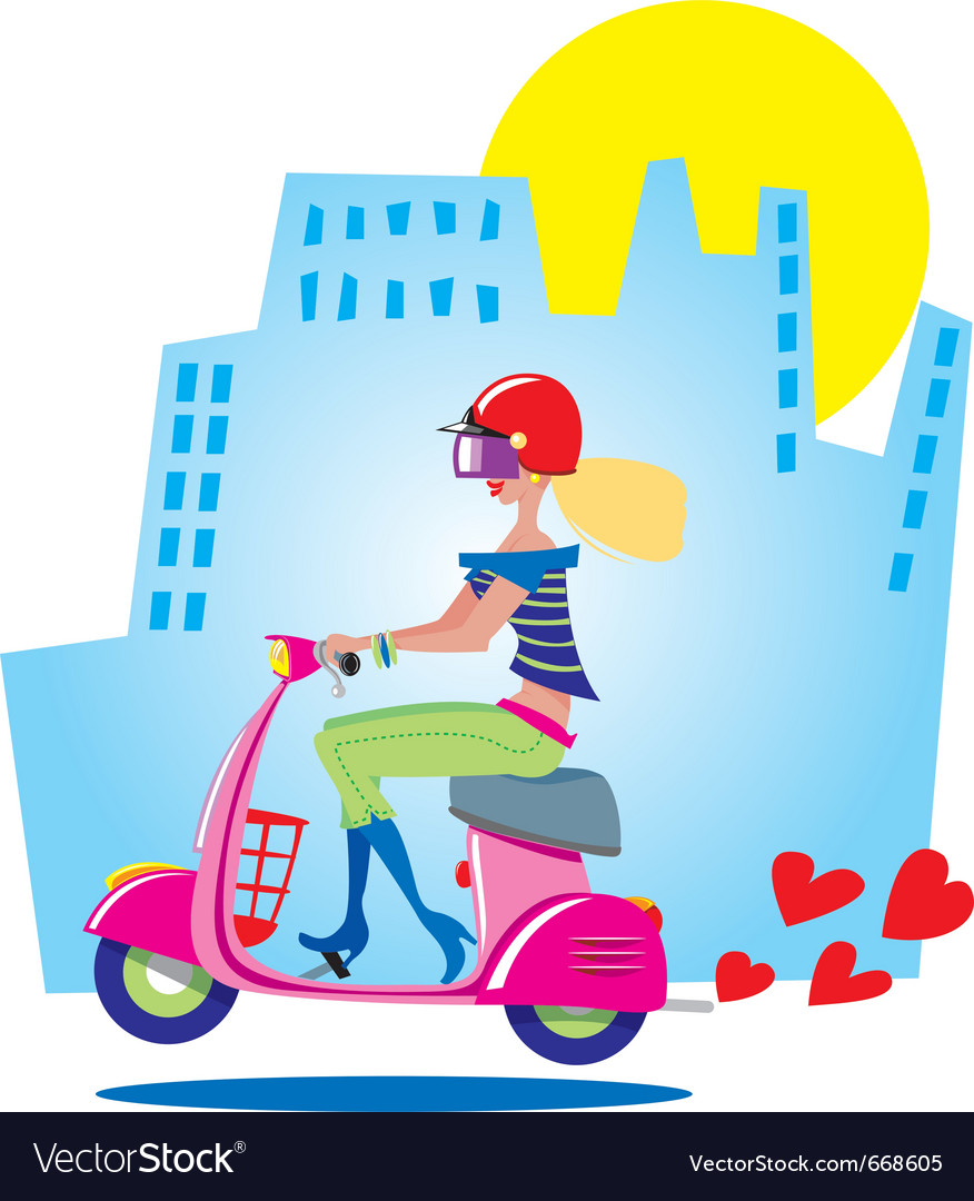 City girl on scooter vector | Price: 3 Credit (USD $3)