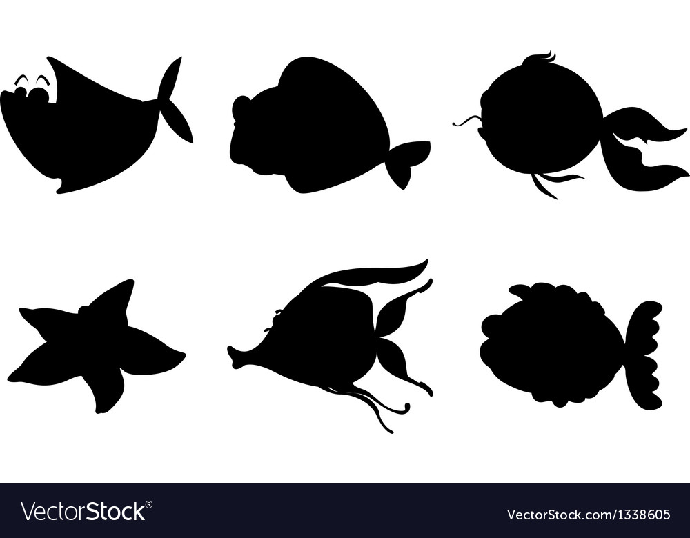 Different silhouettes of sea creatures vector | Price: 1 Credit (USD $1)