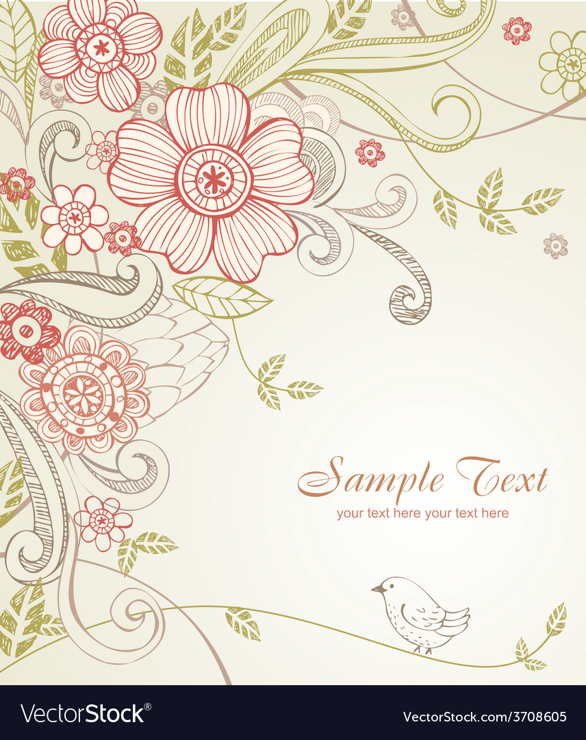 Hand-drawn sketch floral composition vector | Price: 1 Credit (USD $1)