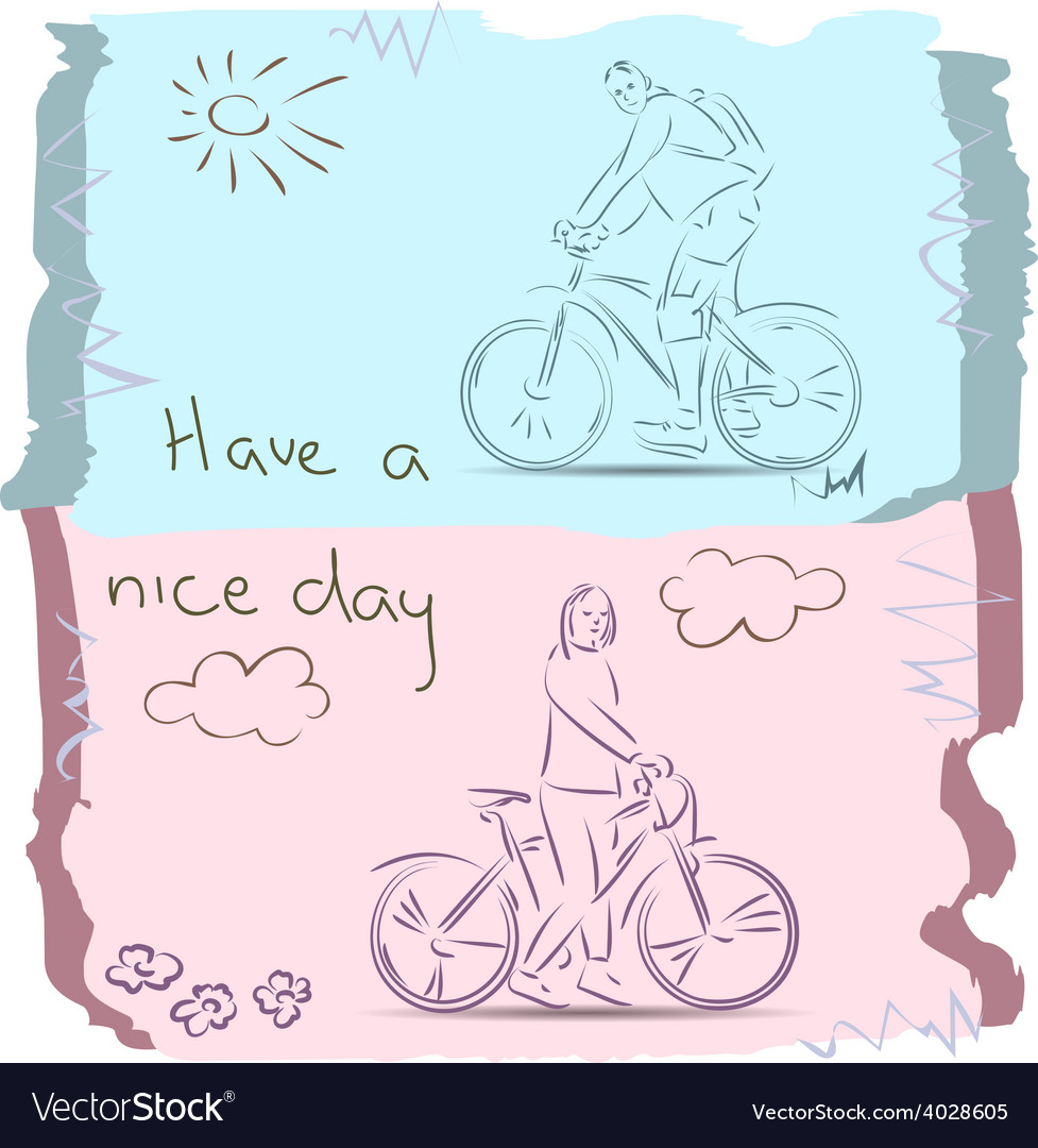 Have a good day on bike sketch vector | Price: 1 Credit (USD $1)