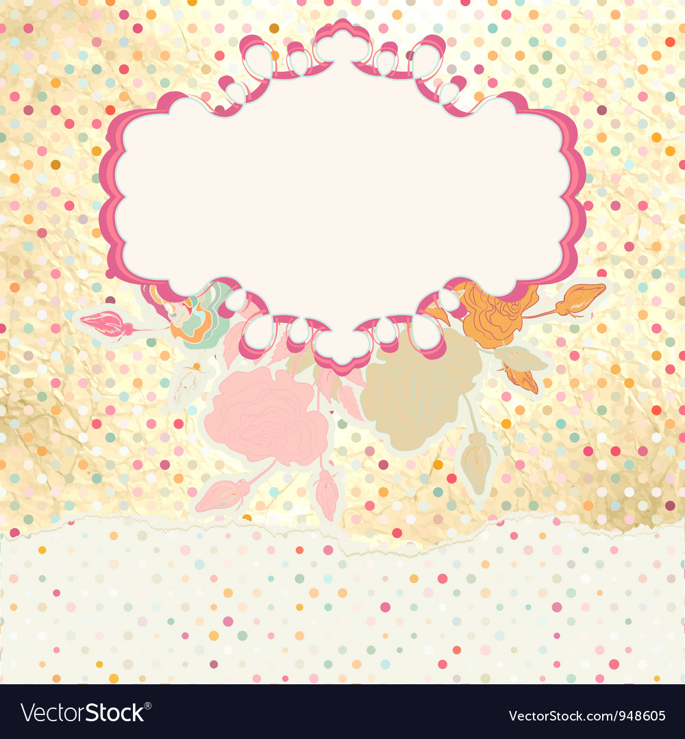 Retro dots floral card vector | Price: 1 Credit (USD $1)
