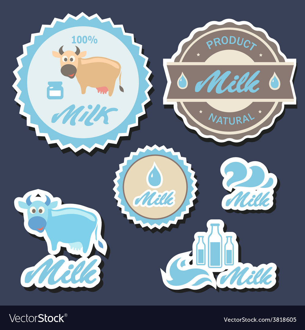 Set of labels and icons for milk in vector | Price: 1 Credit (USD $1)