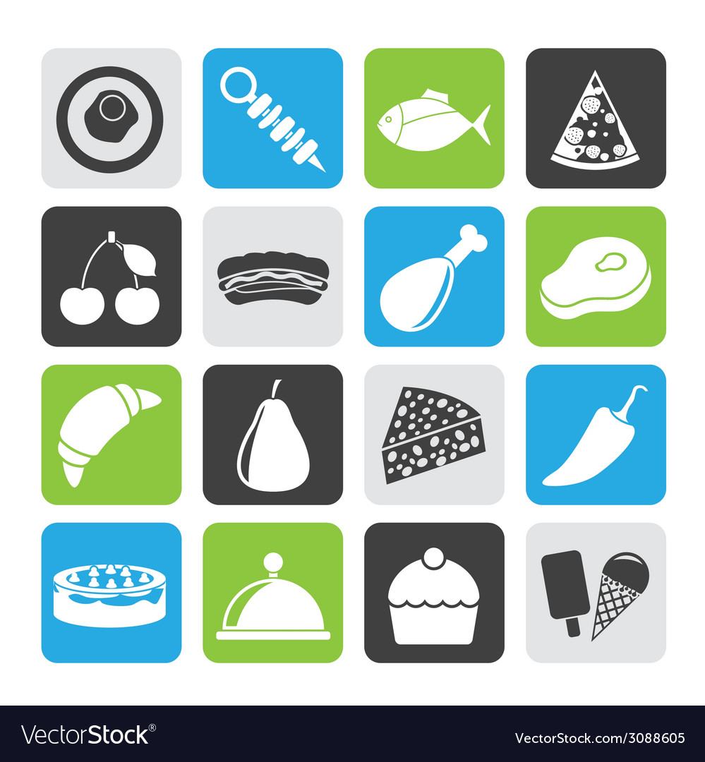 Silhouette different kind of food icons vector | Price: 1 Credit (USD $1)