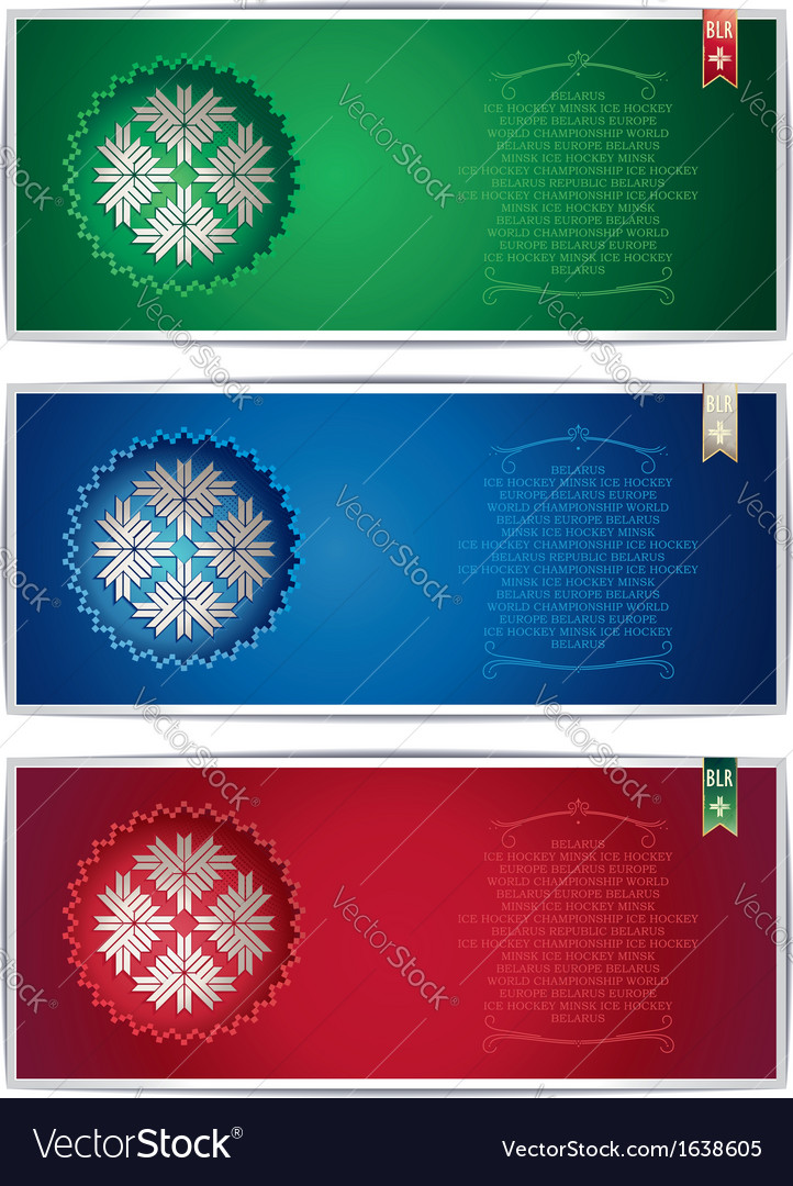 Three belarus vertical banners with traditional st vector | Price: 1 Credit (USD $1)