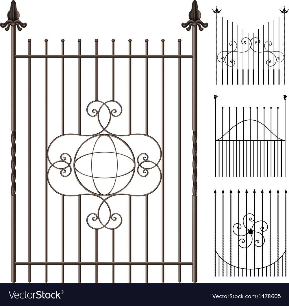 Wrought iron fence set vector | Price: 1 Credit (USD $1)