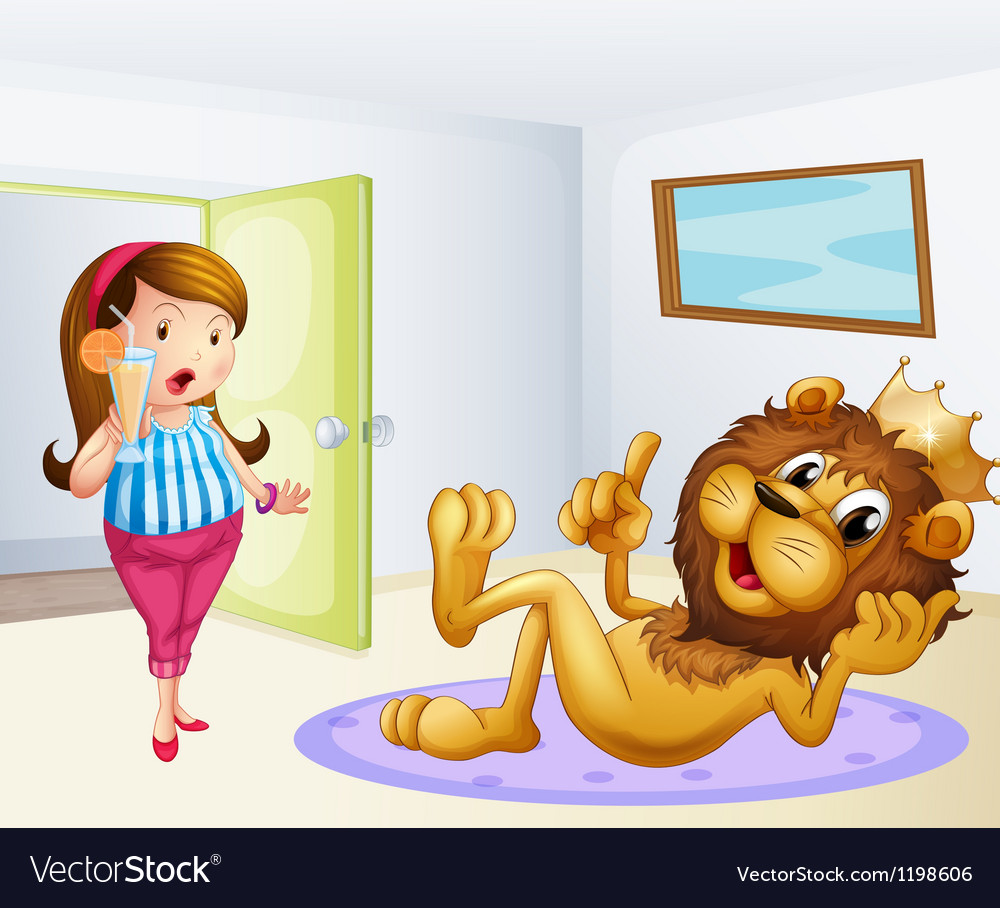 A fat lady and a lion inside a room vector | Price: 1 Credit (USD $1)