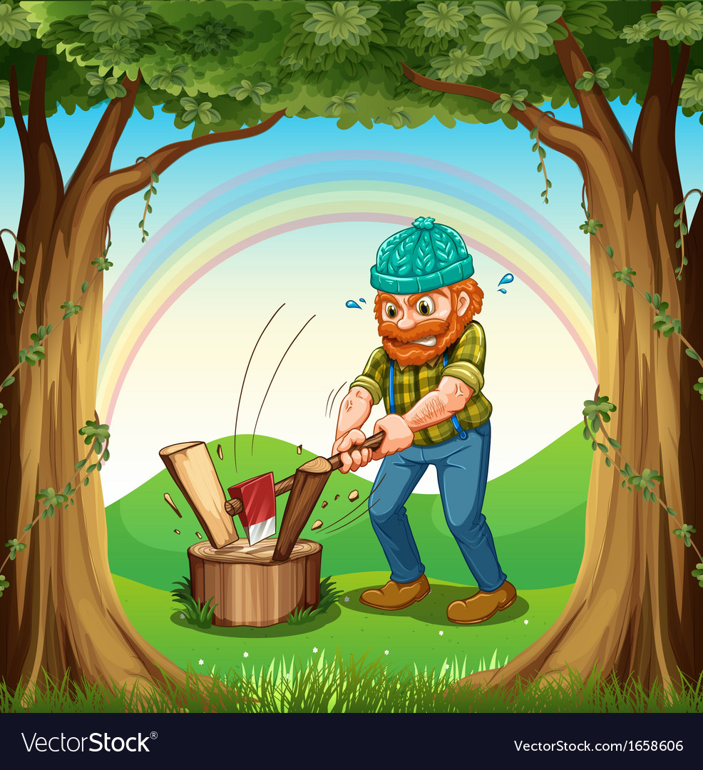 A man chopping the woods near the trees vector | Price: 3 Credit (USD $3)