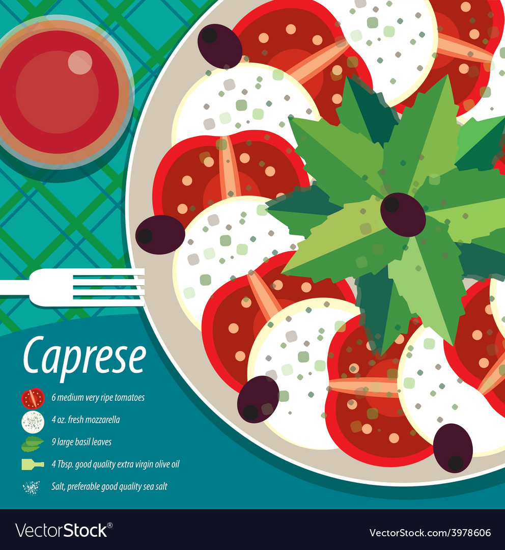 Caprese salad on plate with fork vector | Price: 3 Credit (USD $3)